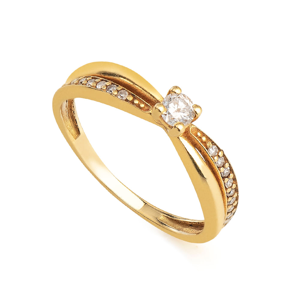 Anel em Ouro 18k Solitário Diamante 10 Pts 18 Diamantes 0,5 Pts ... 93a2ba5cab