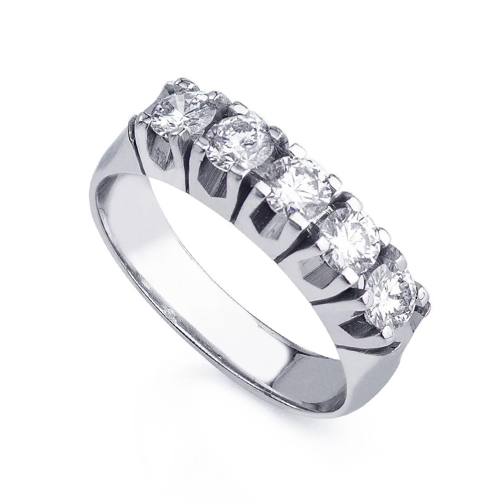 51cc8440da00b Anel em Ouro Branco 18k Meia Aliança Diamantes 20 Pontos an35971 ...
