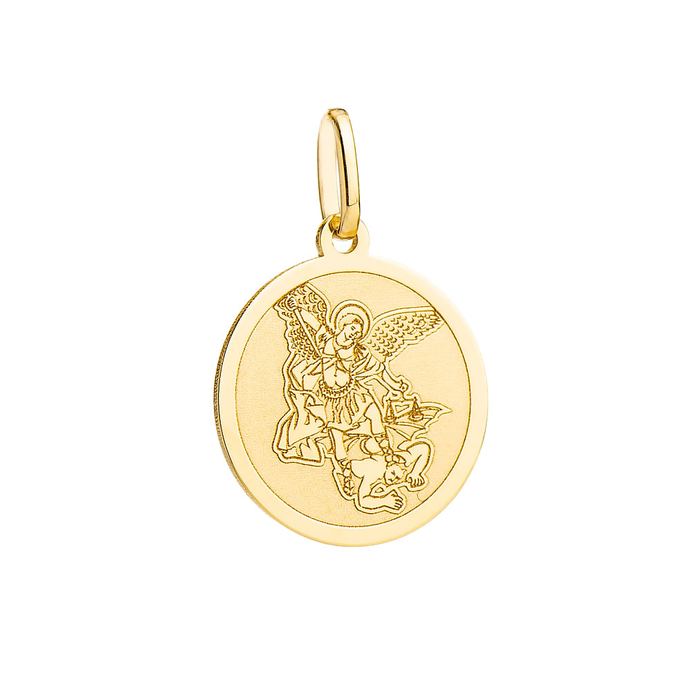 77701c25aebce Pingente em Ouro 18k Medalha São Miguel Arcanjo Redondo pi18164 ...