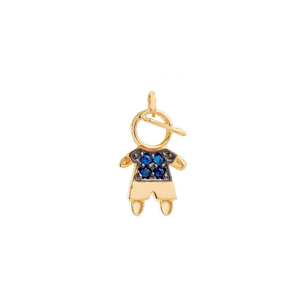 3e581e8b61ba0 Pingente em Ouro 18k Menino Vazado com Zircônia Azul pi19881 - joiasgold