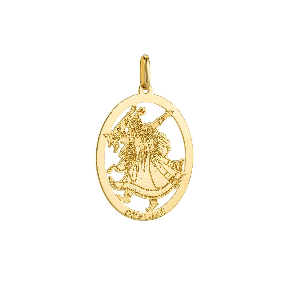 Pingente de Ouro 18k Oval com Imagem Obaluae pi19914 - joiasgold 3789a64ce2
