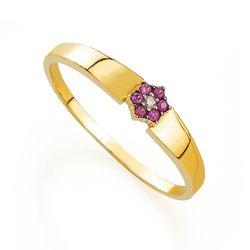 Anel-de-Ouro-18k-Flor-6-Rubis-e-1-Diamante-an32898-Joias-Gold