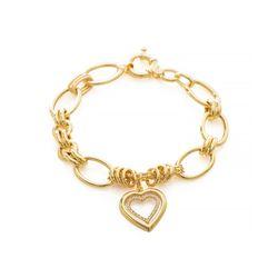 Pulseira-de-Ouro-18k-Elos-Ovais-Coracao-com-Zirconia-com-19cm-pu05276-Joias-Gold