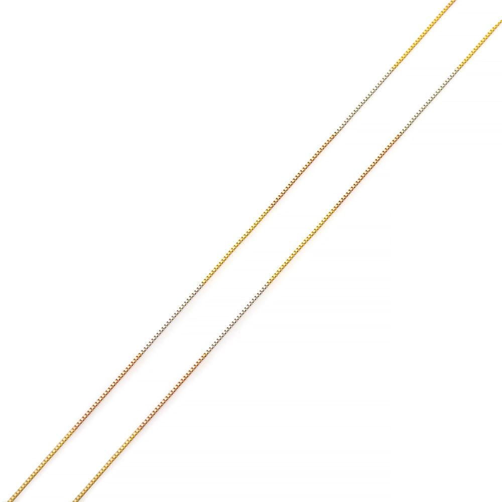 Corrente de Ouro 18k Veneziana Tricolor com 0,5mm e 50cm co02998 ... cbd3371532