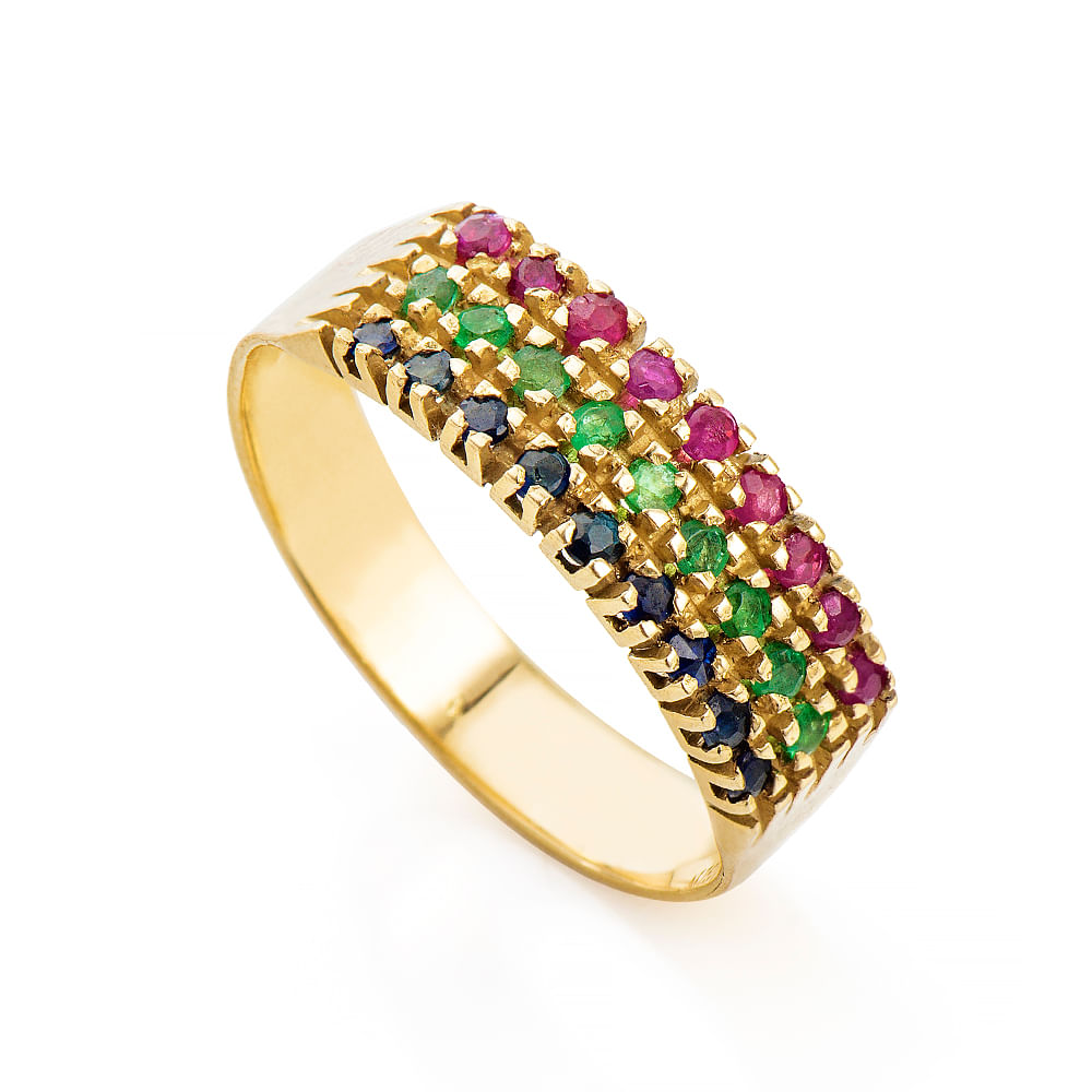 3f965332f9591 anel-de-ouro-18k-meia-alianca-esmeralda-rubi-