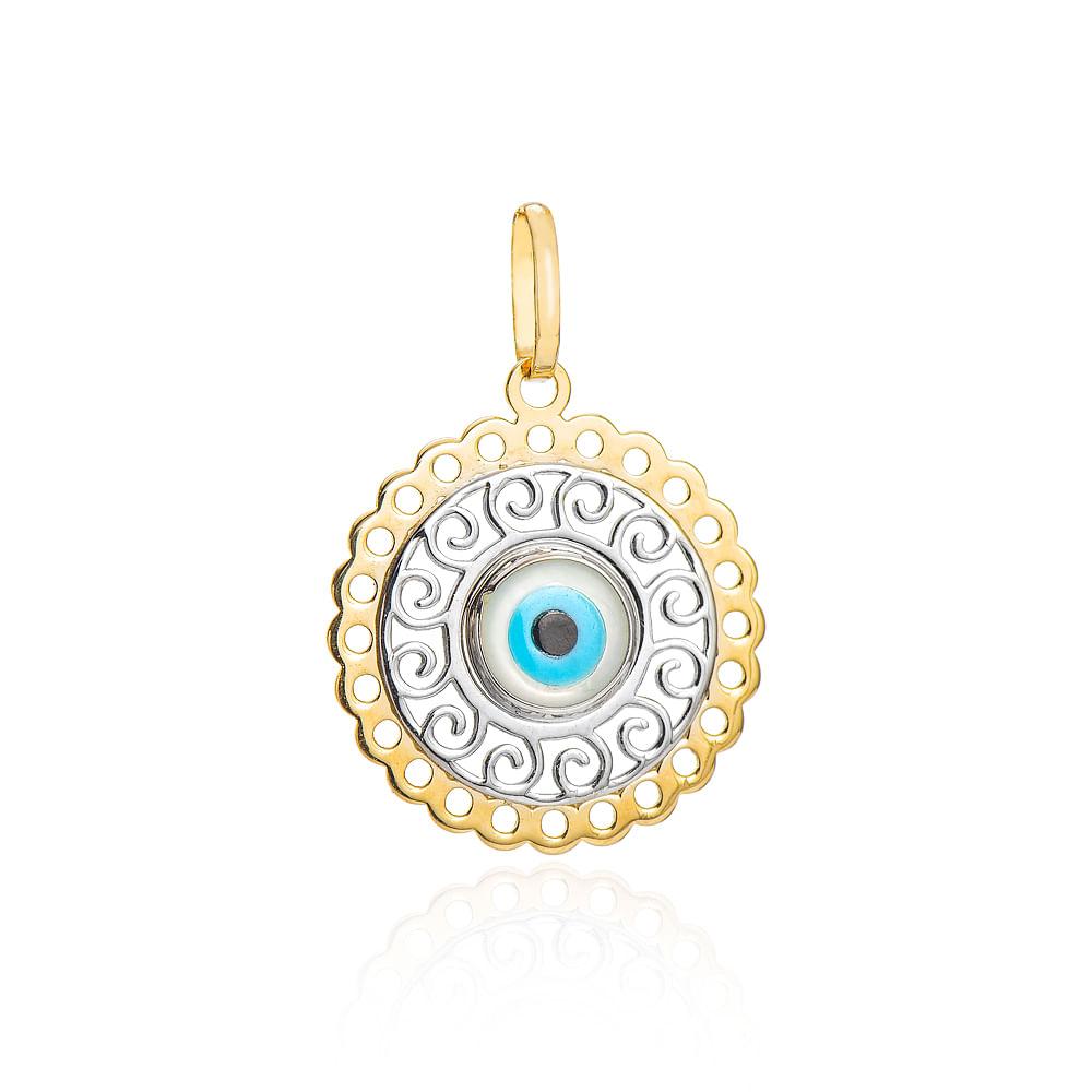 94bbdd3026c79 Pingente de Ouro 18k Mandala Trabalhada Rodinada com Olho Grego pi20037 -  joiasgold