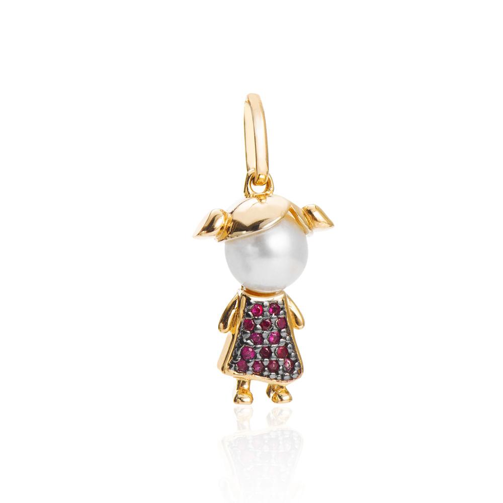 Pingente de Ouro 18k Menina com Pérola e 14 Rubis pi19938 - joiasgold d5608ce756