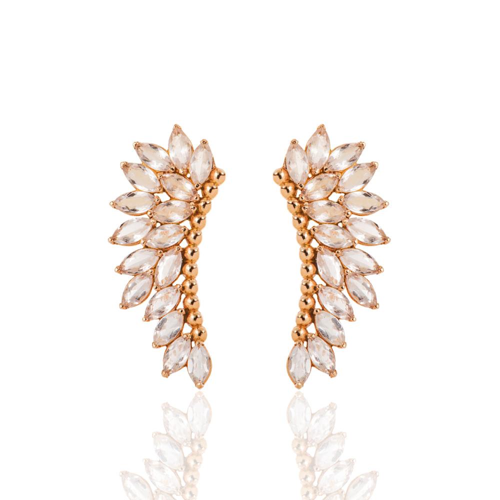 e6615cf6943 Brinco de Ouro Rosê 18k Ear Cuff 32 Cristais br21126 - joiasgold
