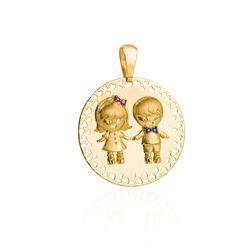 Pingente-de-Ouro-18k-Menina-e-Menino-com-Safira-e-Rubi-pi19985-Joias-Gold