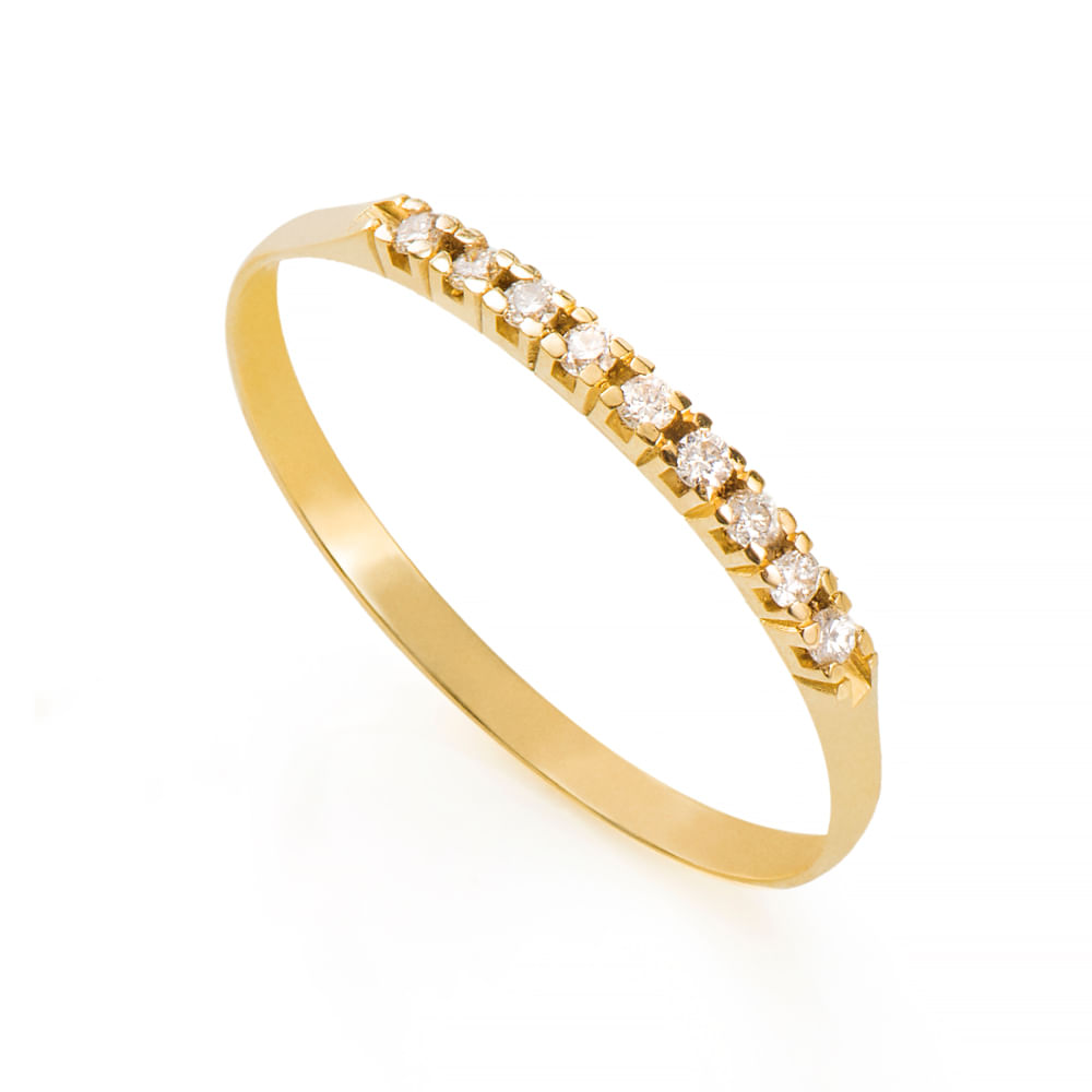 Anel de Ouro 18k Meia Aliança com 9 Diamantes de 0,9 Pontos an36168 ... 7c525e7ed4