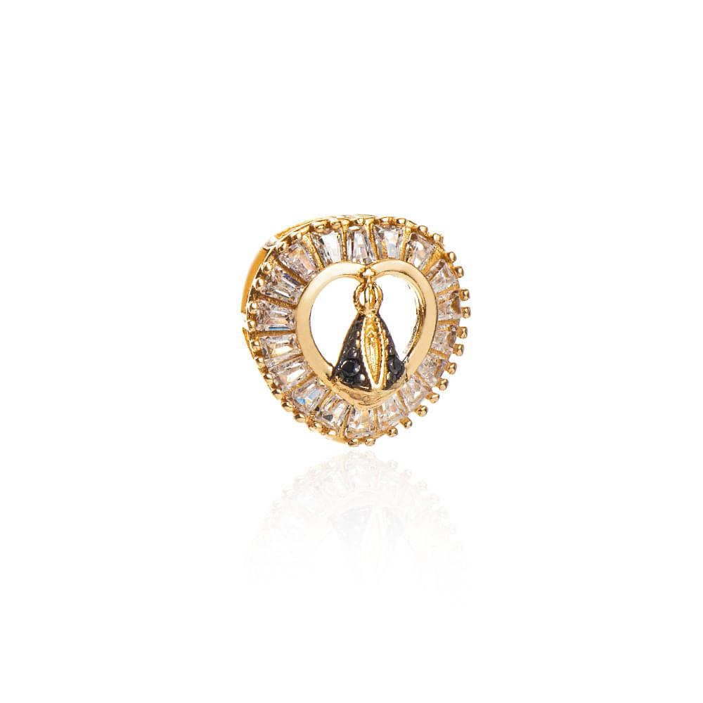 Pingente de Ouro 18k Coração com Zirconia N. Senhora Aparecida ... 39a639064c