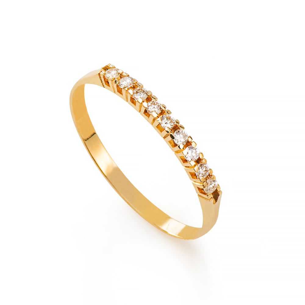 Anel de Ouro 18k Meia Aliança com 9 Diamantes de 1,5 Pontos an36167 ... f30b8897f7