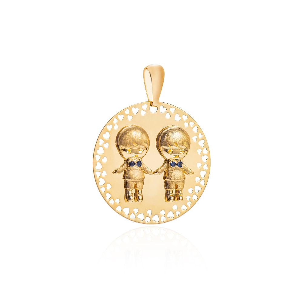 Pingente de Ouro 18k Placa dois Meninos com Safira pi19995 - joiasgold ced6201e29