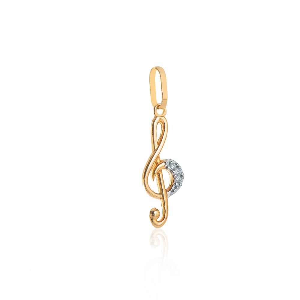 Pingente de Ouro 18k Nota Musical com 3 Diamantes pi20021 - joiasgold c3a7937c6e