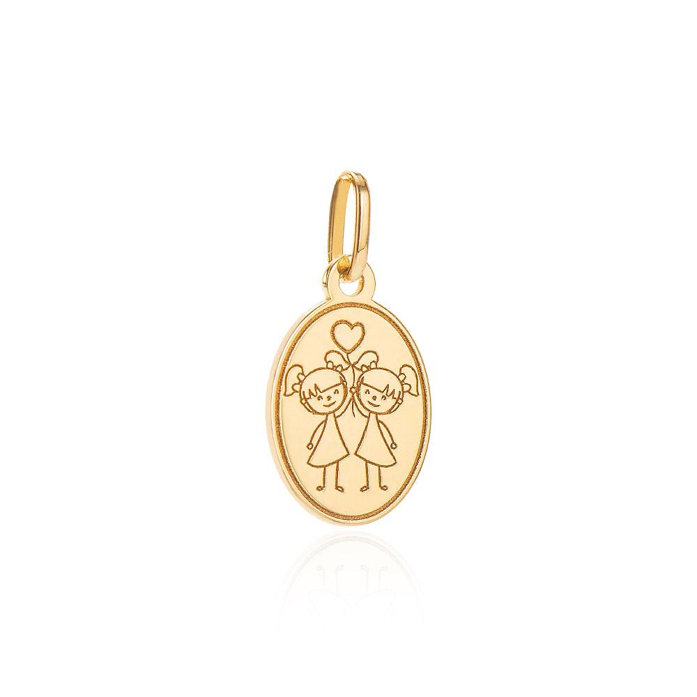 Pingente de Ouro 18k Placa Meninas com Coração pi19958 - joiasgold a45385e28c