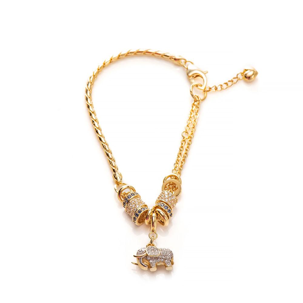 Pulseira de Ouro 18k Elefante com Zircônia com 20cm pu05279 - joiasgold 1f93020b38
