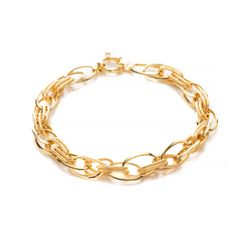 Pulseira-de-Ouro-18k-Elos-Ovais-Lisos-e-Trabalhados-com-20cm-pu05265-joiasgold