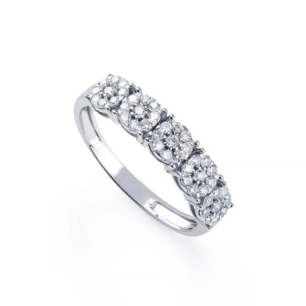 Anel de Ouro Branco 18k Meia Aliança Flores com Diamantes an36441 ... 5fbfd72763