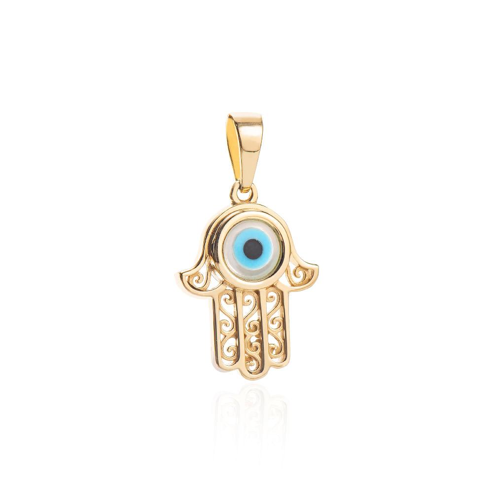 dc492a2b79197 Pingente em Ouro 18k Mão de Hamsa com Olho Grego pi20120 - joiasgold