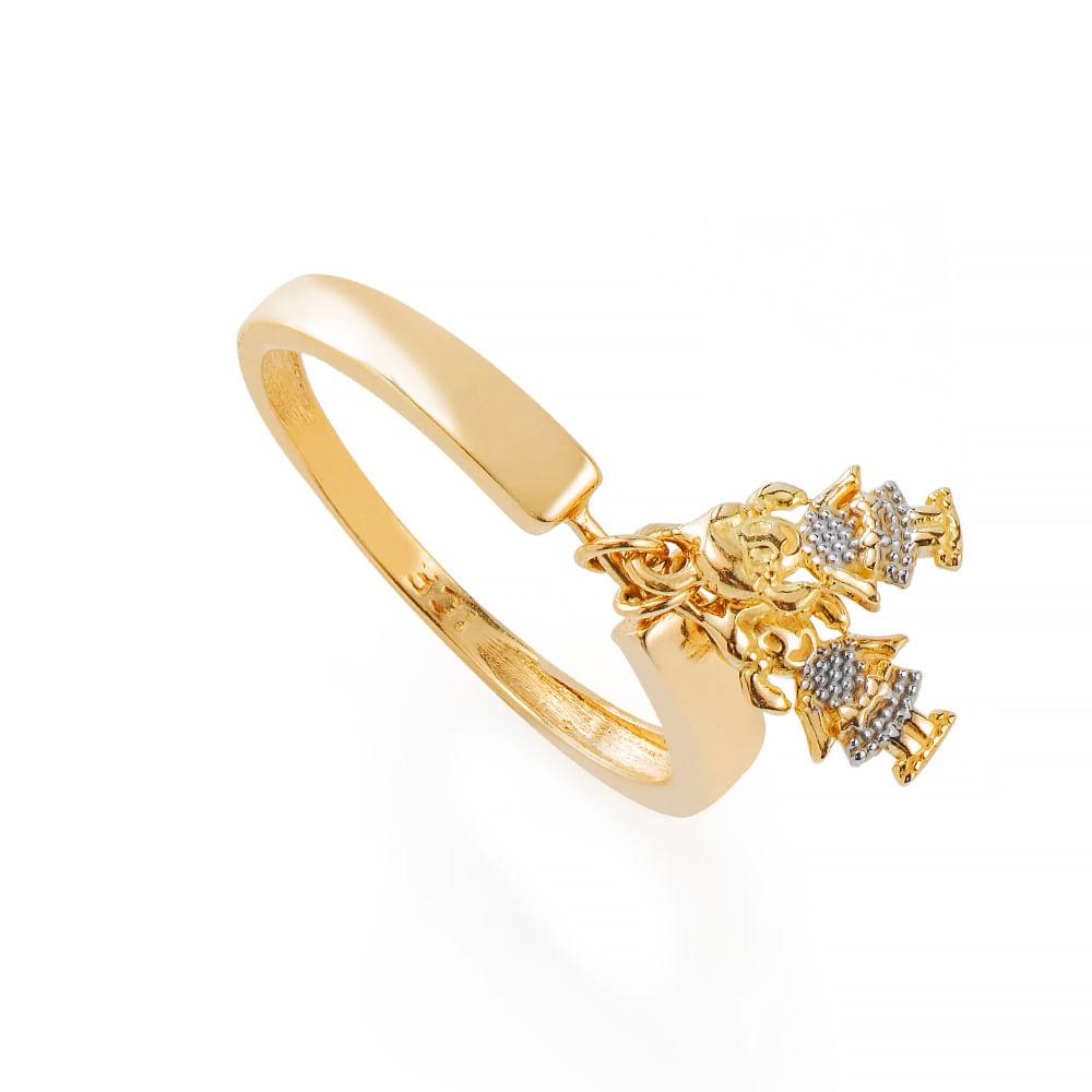 Anel de Ouro 18k Meninas Penduradas an36424 - joiasgold ec815cc459
