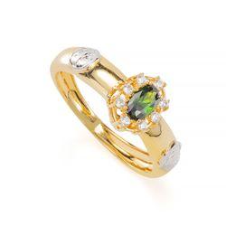 Anel-de-Formatura-em-Ouro-18k-Enfermagem-com-Zirconia-Verde-an35921-Joias-Gold
