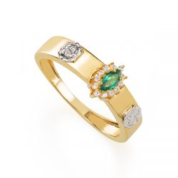 Anel-de-Formatura-em-Ouro-18k-Nutricao-com-Zirconia-Verde-an35916--Joias-Gold