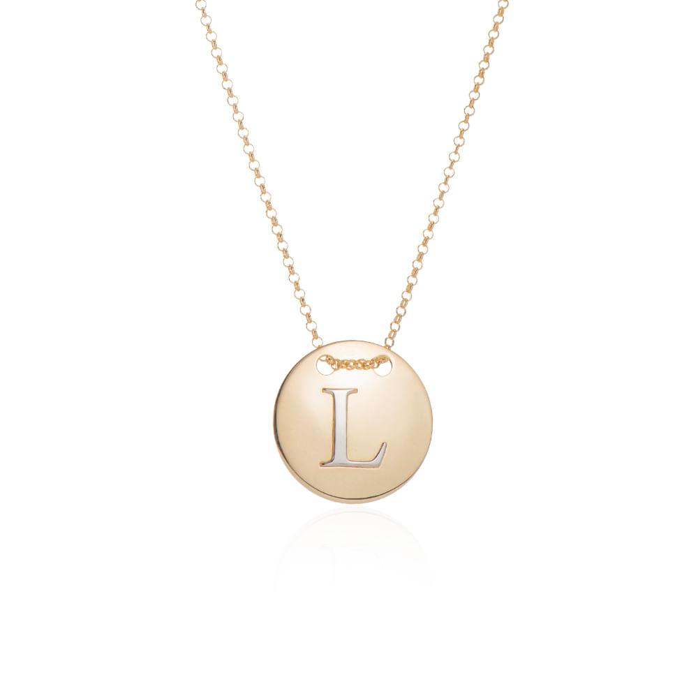 Gargantilha em Ouro 18k Medalha Letra L Rodinada com 40cm ga05084 ... 555d780696