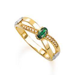 Anel-de-Formatura-em-Ouro-18k-Enfermagem-com-Zirconia-Verde-an36293-Joias-Gold