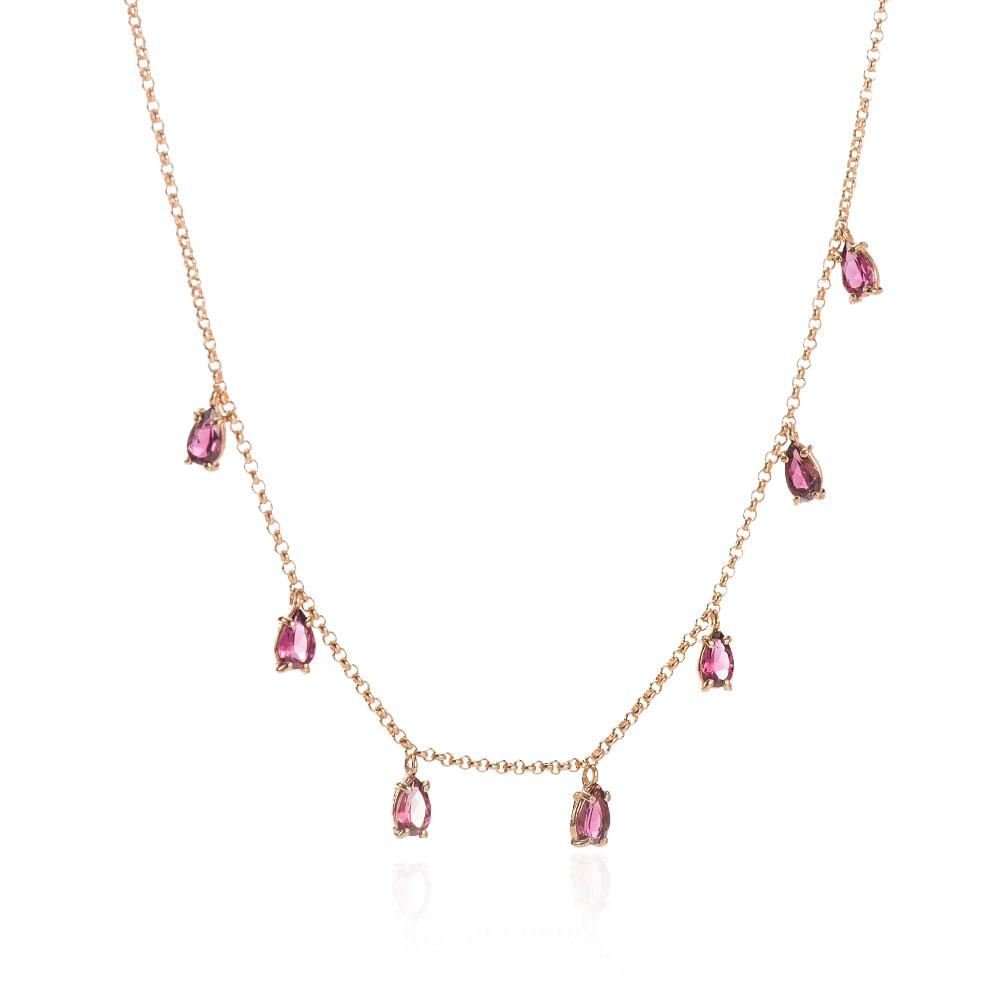 be7868f6208ae Gargantilha em Ouro Rosê 18k Turmalina Rosa com 39cm ga05109 - joiasgold