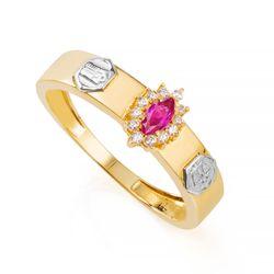 Anel-de-Formatura-em-Ouro-18k-Direito-com-Zirconia-Vermelha-an35890--Joias-Gold