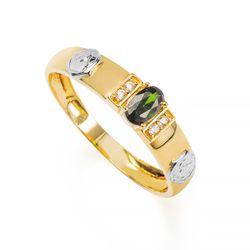 Anel-de-Formatura-em-Ouro-18k-Enfermagem-com-Zirconia-Verde-an36302-Joias-Gold