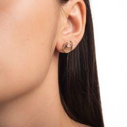 Brinco-de-Ouro-18k-Circulo-Duplo-Quartzo-Rosa-com-Diamantes-br24009-Joias-gold