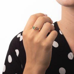Anel-de-Formatura-em-Ouro-18k-Enfermagem-com-Zirconia-Verde-an36315-Joias-gold