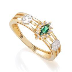 Anel-de-Ouro-18k-Formatura-Nutricao-com-Zirconia-Verde-e-Branca-an3628--joiasgold