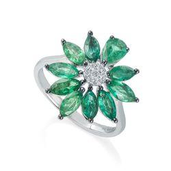 Anel-de-Ouro-18k-Flor-com-Esmeraldas-e-Diamantes-an36053-Joias-Gold