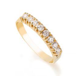 572802a33af Anel em Ouro 18k Meia Aliança com Diamantes de 5 pontos cada an34020