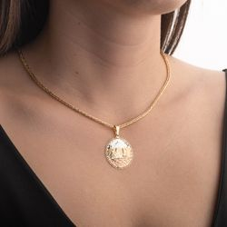 Pingente-de-Ouro-18k-Medalha-Escrava-Tricolor-Trabalhada-pi20557-JOIASGOLD
