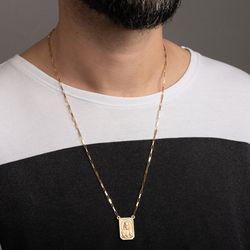 Gargantilha-de-Ouro-18k-Escapulario-Placa-Foscas-Cartier-60cm-ga05446-Joias-gold