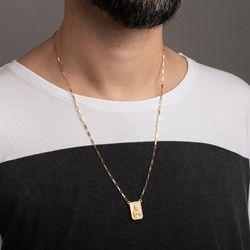 Gargantilha-de-Ouro-18k-Escapulario-Placa-Fosca-Cartier-60cm-ga05445-Joias-gold