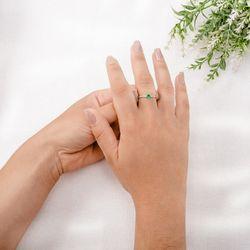 Anel-de-Ouro-Branco-18k-Esmeralda-Coracao-com-Diamantes-an35138-Joias-gold