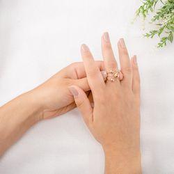 Anel-de-Ouro-Rose-18k-Meia-Bola-com-3-Diamantes-an36156-Joias-gold