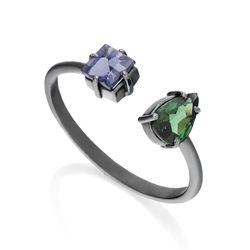 Anel-de-Ouro-Negro-18k-Ametista-com-Topazio-Verde-Aro-Aberto-an37014-joiasgold
