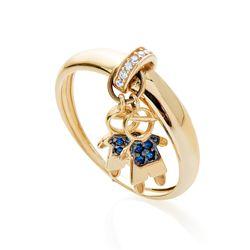 Anel-de-Ouro-18k-Dois-Meninos-com-Zirconia-Azul-an36551-joiasgold